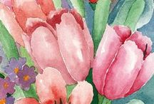 My works: watercolor paintings, birthday cards / Watercolor paintings, flowers and other birthday cards