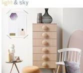 Light & Sky | Ralston Styles / A sky of thin greys and whites, after a refreshing shower, is the inspiration for this mood palette. Soft and ´transparent' rainbow pink and yellow provide a titillating contrast. White is the basis in this palette, with complementing soft grey and blond wood tones. Pink and yellow are added for contrast in accessories and furniture with catchy colour accents throughout. Black adds an even more pronounced and brighter contrast!