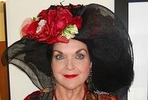 My Friend Pamela wearing East Angel Harbor Hats / Pamela finds all occasions to wear a hat!  She does lots of fundraisers and tea parties too!