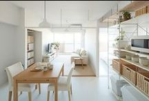 Japan Minimalist Organic Interiors / Paint Slab White and Matches with plants and wooden furniture ala Japanese style