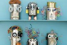 Robots knutselen / Ideeën om robotjes te knutselen van overgebleven verpakkingsmateriaal.