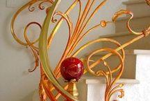 Art Nouveau / 1900-1920.  Frank Lloyd Wright, Rennie Mackintosh, Alphonse Mucha, Gaudi, 'natural flow of organic forms', clouds, trees, floral motifs, curly designs