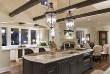 Ultimate Kitchens / I really don't need a big kitchen as not much cooking goes on in our home.  But, I can't resist the look of beautiful stone counter tops, sinks and lighting.