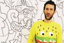 JON BURGERMAN by WIDEWALLS / Jon Burgerman is a purveyor of doodles. His work oscillates somewhere between fine art, urban art and pop-culture, using dry humour to reference and question his contemporary milieu. His is a pervasive and instantly recognisable aesthetic that exists across a multitude of forms including canvases, large scale murals (indoor and outside), sculpture, toys, apparel, design, print and people (as tattoos and temporary drawings).