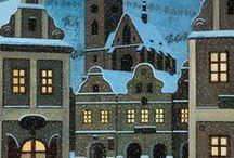 Josef Lada - zima / Český malíř, ilustrátor a spisovatel. Narodil se 17. 12. 1887  v rodině ševce v Hrusicích.  Zde čerpal řadu námětů svých obrazů. Ve 14 letech odešel do Prahy, aby se učil malířem pokojů a divadelních dekorací. V kresbě byl samoukem, postupně si vyvinul osobitý styl s typickou silnou linkou a zaoblenými tvary postav. Protože od dětství neviděl na pravé oko, chybělo mu prostorové vidění. Tato skutečnost silně ovlivňovala jeho obrazy.Napsal také mnoho pohádek a knih pro děti. Zemřel 14. 12. 1957.