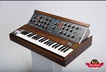 Vintage Minimoog Model D - Retro Rentals / This stock Minimoog Model D has been meticulously refurbished, and plays as the day it was new. It has the desirable early oscillator board with an unbelievably fat, thick sound. Tuning is very stable in a shorter than factory period of time. Often imitated but never replicated, there's just no match on lead or on bass for the raw power of this vintage synth.