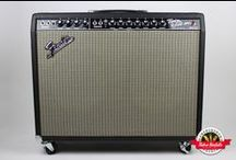 1966 Fender Twin Reverb - Retro Rentals / The golden era of Fender amps: the vintage blackface Fender Twin Reverb.  The reason they have so much value is because they have so much tone.  Paired with a Fender Rhodes, this sought-after amp is exponentially louder than a suitcase amplifier with the addition of reverb as well. Desirable AB763 circuit design, stock Oxford 12T6 Fender speakers.