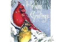 Christmas Cards / The original paintings for these cards were painted in watercolor and printed on recycled paper. Happy Holidays.