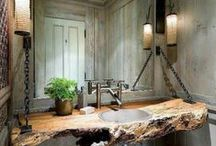 Interesting Bathrooms / Here are a few ideas to ponder over while deciding your next move in home remodeling and tailoring.  For tasteful results, Make sure the home has continuity in design, and truly reflects your style and needs.  ~  Plan well, Dive in  ~