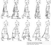 Character Pose | Walk Cycle / In animation, a walk cycle is a series of frames or illustrations drawn in sequence that loop to create an animation of a walking character. The walk cycle is looped over and over, thus having to avoid animating each step again. Walk cycles can be broken up into 4 key frame, namely Forward Contact Point, Passing Pose1, Back Contact Point and Passing Pose 2. Frames that are drawn between these key poses (known as in-betweens) are either hand-drawn or using computer software to interpolate them.