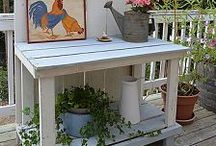 Potting Tables and Benches / Potting tables and benches - pre-made, DIY, or recycled furniture