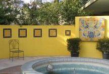 Outdoor Walls & Fences / Ideas for outdoor walls, fences, decorating bland cinder block walls