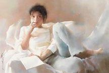 portretas aquareles