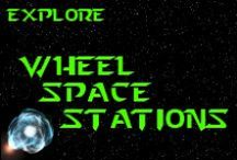 """Wheel Space Stations / A rotating wheel space station is a hypothetical wheel-shaped space station that could create artificial gravity by rotating. If the station were rotated, inertia and the centripetal force would cause objects to press against the outer rim of the """"wheel""""; in the rotating frame of reference of the space station centrifugal force would give an acceleration similar to gravity {Wikipedia} *** http://www.facebook.com/pages/K-Llewellin/456756831010691 ***"""