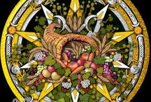 Paganism - Mabon / It is the time of the autumn equinox, & the harvest is winding down. The fields are nearly empty, because the crops have been plucked & stored for the coming winter. Mabon is the mid-harvest festival, & it is when we take a few moments to honor the changing seasons, & celebrate the second harvest. On or around September 21, for many Pagan and Wiccan traditions it is a time of giving thanks for the things we have, whether it is abundant crops or other blessings.  [About.com http://bit.ly/kRSnU]