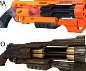 """NERF / My favourite """"NERF"""" guns and modding cases. Mostly postapocalyptic or steampunk style. This is where I wanna go.  Hope to add some mods by myself soon :D"""