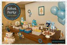 Robot party / Uma ideia para a festa de aniversário de meu filhote que perdeu para o Homem Aranha.