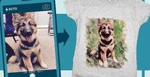 Custom Pet Tees: Samples of custom pet tees / Did you know that Animal Hearted makes custom pet tees?  After ordering a custom tee, just send a photo and the artist take on the rest creating your unique custom tee.  They are beautiful and make unique gifts.