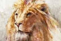 Big Cat Art / A selection of paintings by various artists depicting big cats. / by Iain S Byrne, Wildlife Art