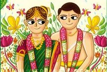 Tamil Brahmin South Indian Wedding Invite Illustration + Design / This creative and quirky Tamil brahmin aka tambrahm wedding invitation card designed by Indian illustrator, SCD Balaji features the couple dressed in traditional brahmin attire where the bride wears a madisar. The designer has illustrated the invite with a floral background to add beauty to it. A complimentary einvite comes along with the wedding stationery package. Illustrated and Designed in Adobe Illustrator.