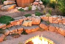 Firepits and Barbeques / Outdoor firepits, fireplaces and barbeques made from natural materials.