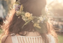 Floral Crowns - Flowers in Hair / There's nothing quite as lovely as beautiful blossoms adorning long locks or updos. This is a collection of the most romantic, stunning floral crowns in flowergirls and women's hair.