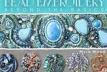 Bead Embroidery / Beaded fabric, buttons and jewelry