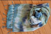 Artist:  Gina Studelska / Hand-dyed scarves made from silk/rayon burnout or bamboo; traditional tie-dyed fringed rayon; hand-dyed and hand-beaded chiffon.    http://www.theartsmill.org/gina-studelska/
