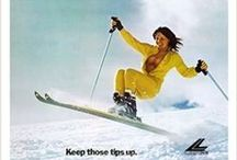 """Lange Girl Ski Posters / We are proud to have been chosen by the Dynastar/Lange Company to have the exclusive rights to reproduce and sell their classic Lange Posters. Lange is as well-known for their Ski Boots, as they are for their annual """"Lange Girl"""" posters. These images have adorned the back shops and bedrooms of skiers around the world for more than 50 years. As in the past, these Lange Posters nicely add to any wall decor."""
