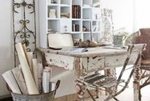 Craft Room Ideas / Shabby chic, vintage and natural inspiration for organising and decorating a craft/art studio space.