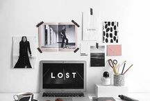 Motivation • Home office • Planning / Motivation for study, home office, freelance. Things which inspire to stand up and start working.  Plan and schedule a work day, stay motivated and productive. Inspiration in the work place and organization, bullet points, planner, habit tracker and agenda
