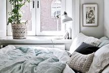 Decoration • Bedroom • Scandinavian / Scandinavian style, bedroom, design and decoration, pastel colorus, light, white. Big windows and cozy atmosphere