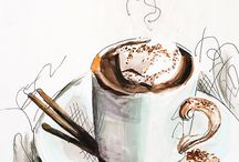 Watercolor • Coffee • Sketch / Watercolor paintings and sketches of coffee, breakfast, hot beverages and drinks. Acuarela акварель кофе