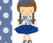 Belle Petite dress up dolls / Pretend play dolls with cute clothes and accessories made by Margaret Bell