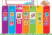 Weekly Activity planner / The Monkey&Chops Weekly Activity Planner is fully magnetised and comes with its very own magnetic pen! The bright, colourful and thick activity magnets are perfect for little fingers to handle.   Dimensions: 270mmx390mm Involve your kids in planning and organising their daily activities and routines: -Encourage independence -Develop time and day awareness -Promote positive behaviour Kid-tested, family-friendly and created by mums!