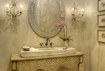 Powder Room Inspiration....Antique and Reclaimed Elements / A unique antique or reclaimed powder room element (Reclaimed stone or marble sink, iron hardware etc) can really pull together an interesting and beautiful space. See our website for our ever-growing stock of reclaimed marble sinks, stone sinks, hardware, basins, auges, and more!