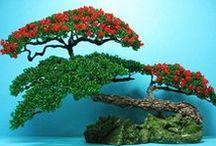 Korálková příroda / Stromky, květiny a dekorace z korálků