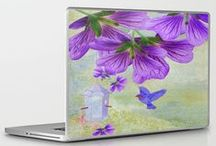 "#21 Collection - Purple Cranesbill / Unique digital oil painted purple flowers on a colorful grunge background with a small blue bird in flight to to nearby birdhouse for seed. Artwork Titled, ""Purple Cranesbill"" - By: ©SmudgeArt ~ Madeline M Allen"