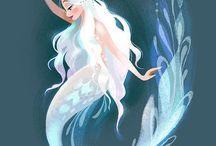 M E R M A I D S / magical creatures who swim in the sea