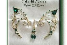 Wire Elf Ears on StarlitSkies.com / Handcrafted Wire Ear Wraps for the Elf or Fairy in you, now on Our website for $38-48.00 a pair. We use Sterling Silver, Brass, Swarovski Crystals, Glass beads and Semi Precious Stones. Visit our Etsy Store too: https://www.etsy.com/shop/StarlitSkies