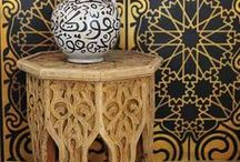 Morrocan Style / Living in Moroccan style - visual feast of colour, shape and busy pattern, using tile or fabric, creating the mood or feel of a Moroccan bazaar, home or lifestyle.