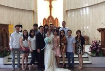A bestie's wedding holy matrimony ! / Happy wedding day my bestie, Fey ! May your marriage to Tonny be blessed and you may live happily ever after. Amen