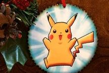 Pokemon Ornaments, Magnets and Mirrors at StarlitSkies / Handcrafted FAN ART Pokemon Ornaments, Magnets and Mirrors crafted by the Starlit Skies Team. The Ornaments and Magnets are 3 inch Wood Discs, with Wood Burned Edges. The Mirrors have Beveled Glass on the opposite side with Art in The Middle. So Much Fun we are Having Creating these Treasures, now found on ETSY in our StarlitSkies Shop.