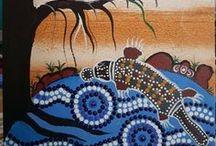 ABORIGINAL ART / Aboriginal paintings, Animal templates and patterns, Animal drawings.  Dot and line paintings.  Design Ideas