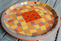 Mosaic / mirrors, tables, platters, bowls finished with mosaic materials