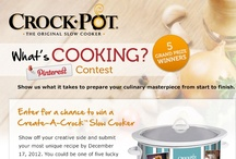 What's Cooking? Pinterest Contest / Enter our What's Cooking? Pinterest Contest for your chance to win a Crock-Pot® Create-A-Crock™. How to enter:  1. Follow Crock-Pot® Brand on Pinterest;  2. Pin 5 or more photos that showcase your signature slowcooker recipe and include #CreateACrock in the pin description;  3. Pin your favorite Create-A-Crock™ from our Contest Board;  4. Complete an entry form. Enter by December 23, 2012. More information can be found at: https://www.facebook.com/CrockPot/app_426420274088056 / by Crock-Pot® Slow-Cooker