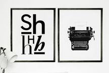On the wall / Scandinavian Style Interior Design -black & white- Words, prints,numbers