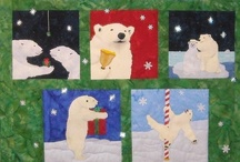 Bullas Bears Quilt / Quilt Adaptation of artwork by Will Bullas featuring Polar Bears celebrating Christmas and the holidays.