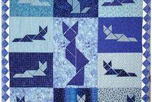 I've Got the Blues  / Blue Quilts, Fabrics, Threads, Plates, Cat Figuerines, Tiles, Curtains, Etc.