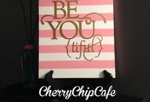 Cherry Chip Cafe Custom Designs / CherryChipCafe is my favorite Etsy Shop for vinyl decals, sayings, and custom signs. If your home or classroom needs some inspiration, this is a great place to start.  All of the designs and creations on this board are by CherryChipCafe!